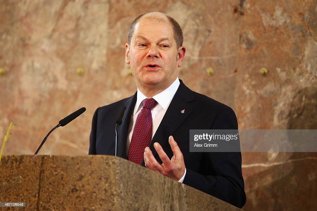 Olaf Scholz, mayor of Hamburg, delivers his speech during the DOSB extraordinary assembly at Paulskirche on March 21, 2015 in Frankfurt am Main, Germany. The DOSB will announce which German city will apply for the 2022 Olympic Games.