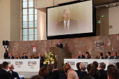 Olaf Scholz mayor of Hamburg delivers his speech during the DOSB extraordinary assembly at Paulskirche on March 21 2015 in Frankfurt am Main Germany...