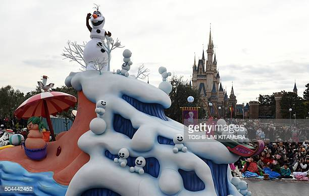 Olaf the Snowman a Disney character of animation movie Frozen performs on a float during the'Frozen Fantasy parade' at Tokyo Disneyland in Urayasu...