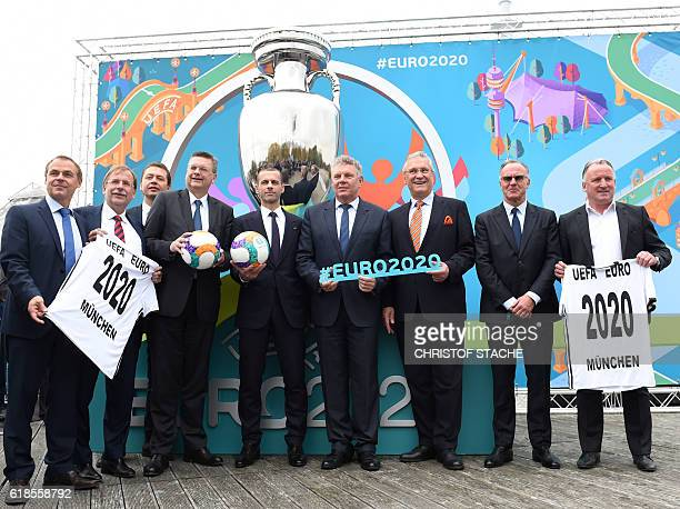 Olaf Thon former German soccer player Rainer Koch Vize President of German football association DFB Ralf Koettker Vize General Secretary of DFB...