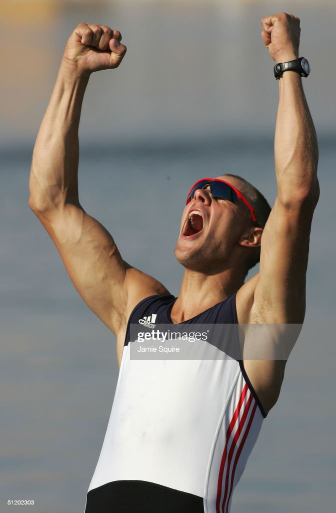 Olaf Tufte of Norway celebrates winning Gold in the men's single sculls final on August 21, 2004 during the Athens 2004 Summer Olympic Games at the Schinias Olympic Rowing and Canoeing Centre in Athens, Greece.
