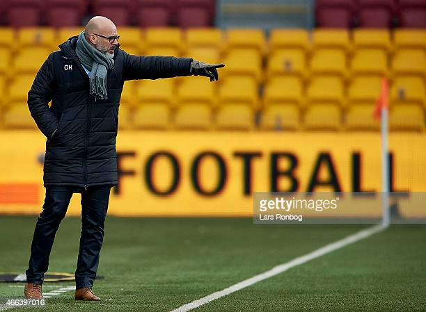 Olafur Kristjansson head coach of FC Nordsjalland gives instructions from the touchline during the Danish Alka Superliga match between FC...