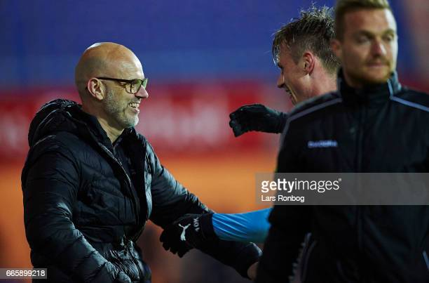 Olafur Kristjansson head coach of Randers FC and Marvin Pourie of Randers FC celebrate during the Danish Alka Superliga match between Randers FC and...