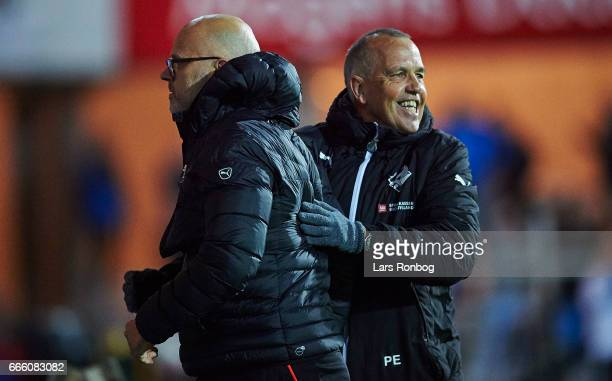 Olafur Kristjansson head coach of Randers FC and Peter Enevoldsen assistant coach of Randers FC celebrate during the Danish Alka Superliga match...