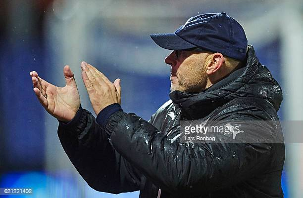 Olafur Kristjansson head coach of Randers FC applaud the fans after the Danish Alka Superliga match between Randers FC and FC Nordsjalland at...