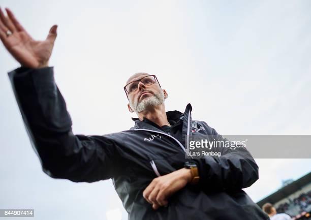 Olafur Kristjansson head coach of Randers FC celebrate during the Danish Alka Superliga match between AGF Aarhus and Randers FC at Ceres Park on...
