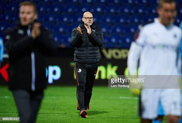 Olafur Kristjansson head coach of Randers FC celebrates after the Danish Alka Superliga match between Randers FC and AC Horsens at BioNutria Park on...