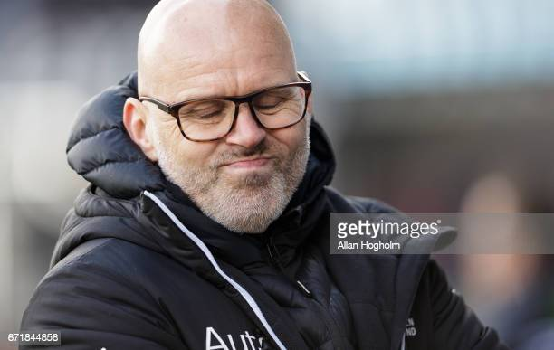 Olafur Kristjansson head coach of Randers FC during the Danish Alka Superliga match between Randers FC and OB Odense at BioNutria Park on April 23...