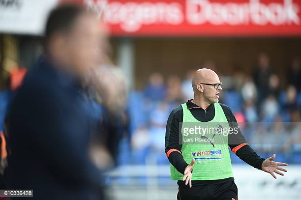 Olafur Kristjansson head coach of Randers FC gestures during the Danish Alka Superliga match between Randers FC and Sonderjyske at BioNutria Park on...