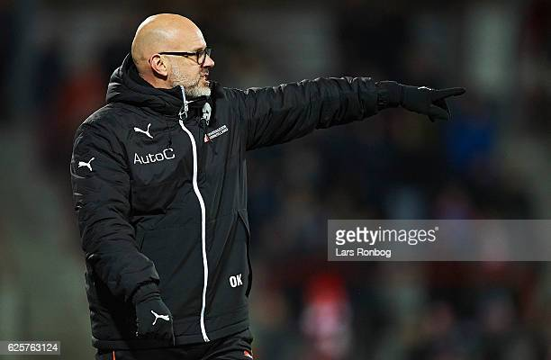 Olafur Kristjansson head coach of Randers FC gestures during the Danish Alka Superliga match between AaB Aalborg and Randers FC at Nordjyske Arena on...