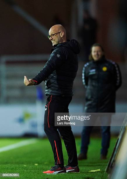 Olafur Kristjansson head coach of Randers FC gestures during the Danish Alka Superliga match between Randers FC and AC Horsens at BioNutria Park on...