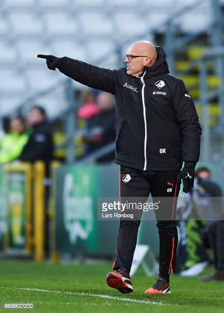 Olafur Kristjansson head coach of Randers FC gestures during the Danish Alka Superliga match between OB Odense and Randers FC at EWII Park on April...