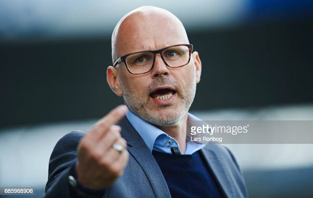 Olafur Kristjansson head coach of Randers FC gestures during the Danish Alka Superliga match between OB Odense and Randers FC at EWII Park on May 20...