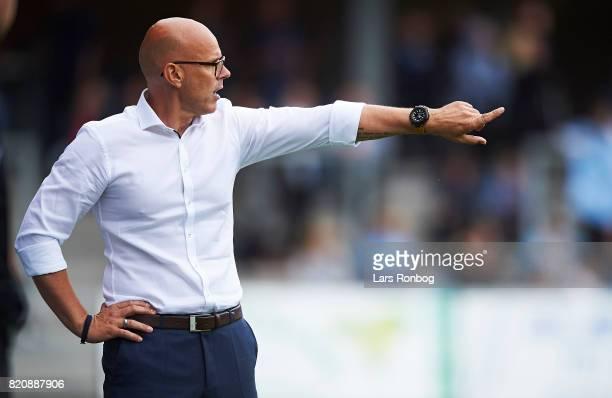 Olafur Kristjansson head coach of Randers FC gestures during the Danish Alka Superliga match between Randers FC and FC Copenhagen at BioNutria Park...