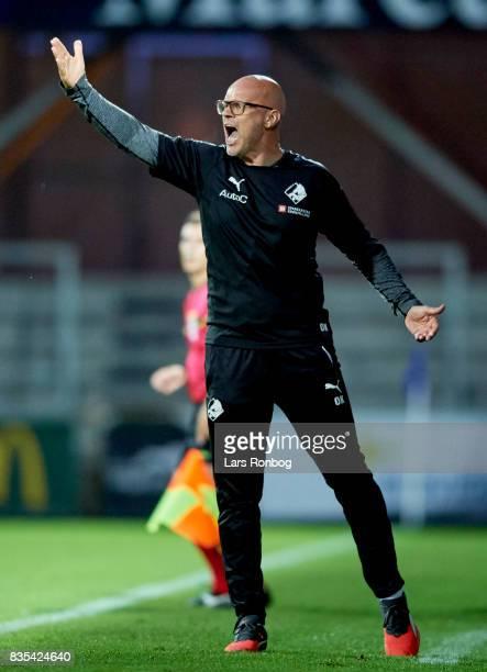 Olafur Kristjansson head coach of Randers FC gestures during the Danish Alka Superliga match between Randers FC and Silkeborg IF at BioNutria Park on...