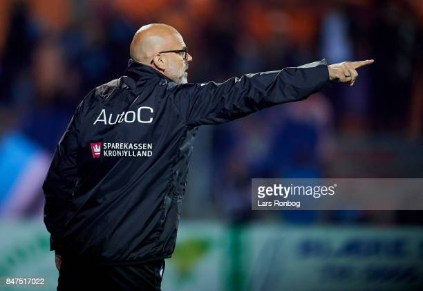 Olafur Kristjansson head coach of Randers FC gestures during the Danish Alka Superliga match between Randers FC and Lyngby BK at BioNutria Park on...