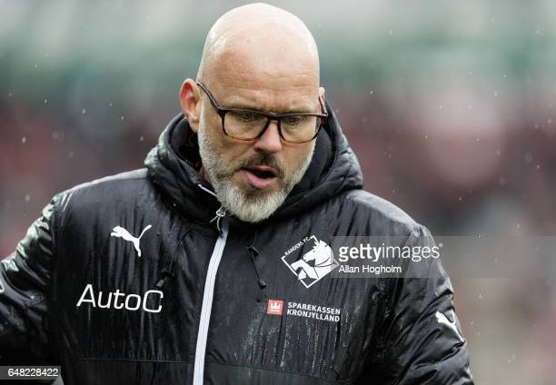 Olafur Kristjansson head coach of Randers FC in action during the Danish Alka Superliga match between Silkeborg IF and Randers FC at Mascot Park on...