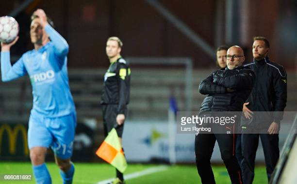 Olafur Kristjansson head coach of Randers FC in action during the Danish Alka Superliga match between Randers FC and AC Horsens at BioNutria Park on...