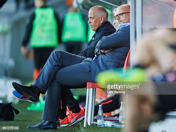 Olafur Kristjansson head coach of Randers FC $llok$ the Danish Alka Superliga Europa League Playoff match between FC Midtjylland and Randers FC at...