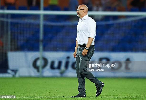 Olafur Kristjansson head coach of Randers FC looks dejected after the Danish Alka Superliga match between Randers FC and AaB Aalborg at BioNutria...