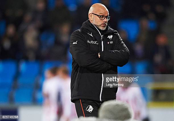 Olafur Kristjansson head coach of Randers FC looks dejected during the Danish Alka Superliga match between AaB Aalborg and Randers FC at Nordjyske...