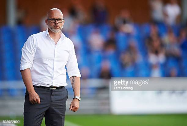 Olafur Kristjansson head coach of Randers FC looks on during the Danish Alka Superliga match between Randers FC and Silkeborg IF at NioNutria Park on...