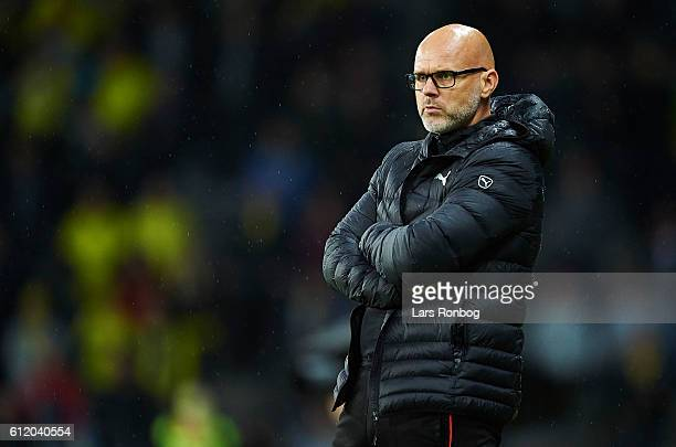 Olafur Kristjansson head coach of Randers FC looks on during the Danish Alka Superliga match between Brondby IF and Randers FC at Brondby Stadion on...