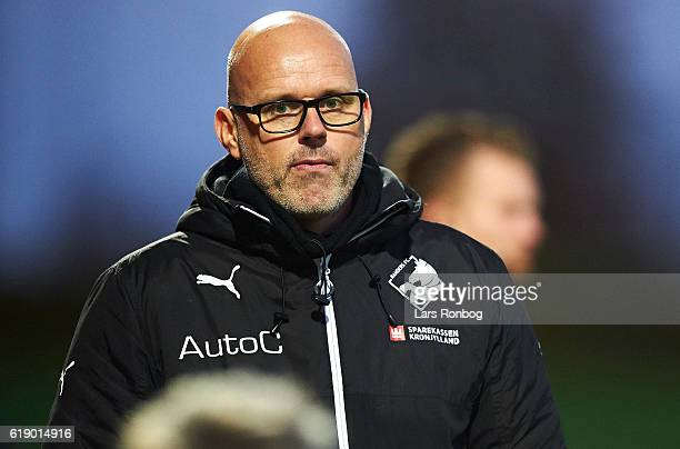 Olafur Kristjansson head coach of Randers FC looks on during the Danish Alka Superliga match between Lyngby BK and Randers FC at Lyngby Stadion on...