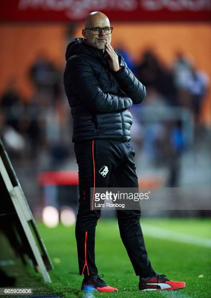 Olafur Kristjansson head coach of Randers FC looks on during the Danish Alka Superliga match between Randers FC and AC Horsens at BioNutria Park on...