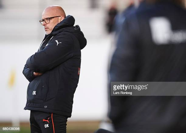 Olafur Kristjansson head coach of Randers FC looks on during the Danish Alka Superliga match between AC Horsens and Randers FC at Casa Arena on May 8...