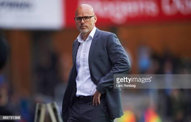 Olafur Kristjansson head coach of Randers FC looks on during the Danish Alka Superliga match between Randers FC and OB Odense at BioNutria Park on...