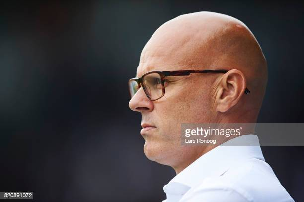 Olafur Kristjansson head coach of Randers FC looks on during the Danish Alka Superliga match between Randers FC and FC Copenhagen at BioNutria Park...