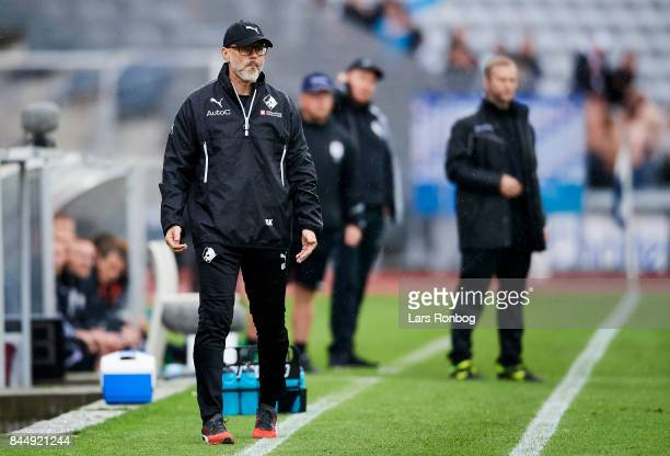 Olafur Kristjansson head coach of Randers FC looks on during the Danish Alka Superliga match between AGF Aarhus and Randers FC at Ceres Park on...