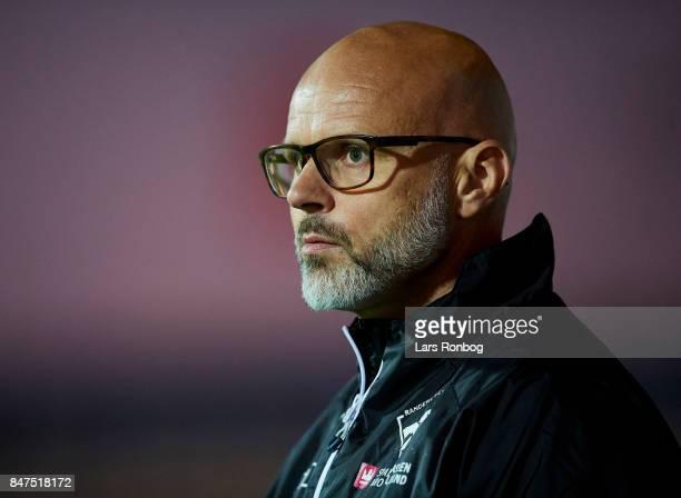 Olafur Kristjansson head coach of Randers FC looks on during the Danish Alka Superliga match between Randers FC and Lyngby BK at BioNutria Park on...