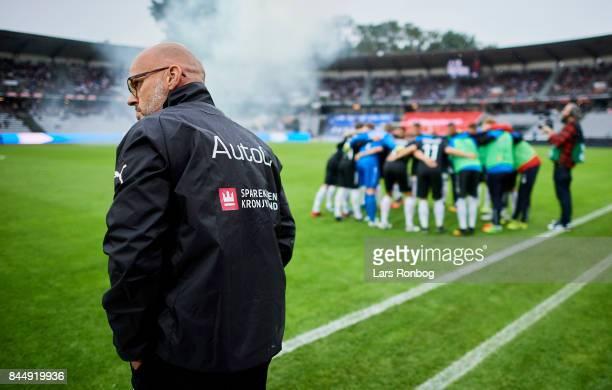 Olafur Kristjansson head coach of Randers FC looks on prior to the Danish Alka Superliga match between AGF Aarhus and Randers FC at Ceres Park on...