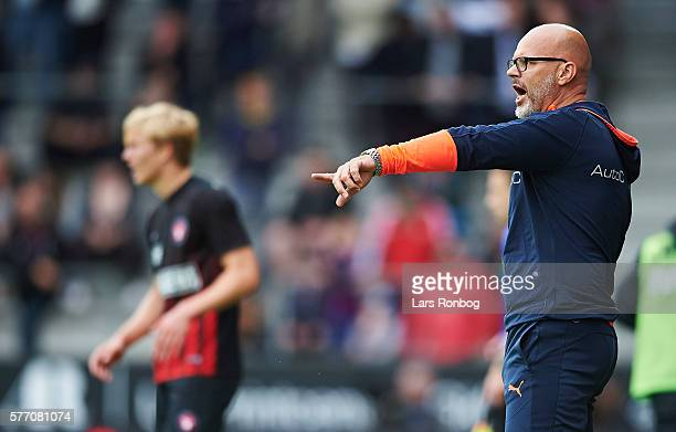 Olafur Kristjansson head coach of Randers FC on the touchline during the Danish Alka Superliga match between FC Midtjylland and Randers FC at MCH...