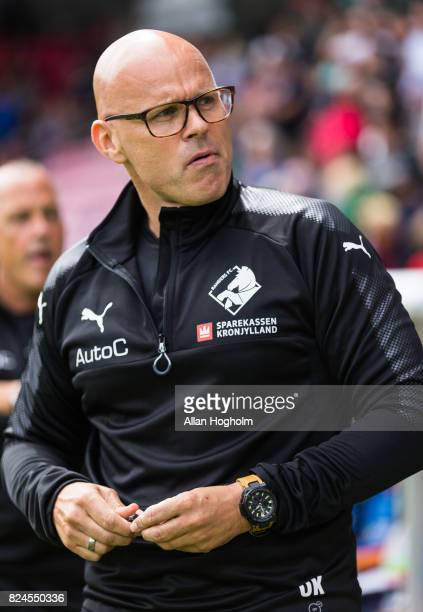 Olafur Kristjansson head coach of Randers FC prior to the Danish Alka Superliga match between FC Midtjylland and Randers FC at MCH Arena on July 30...
