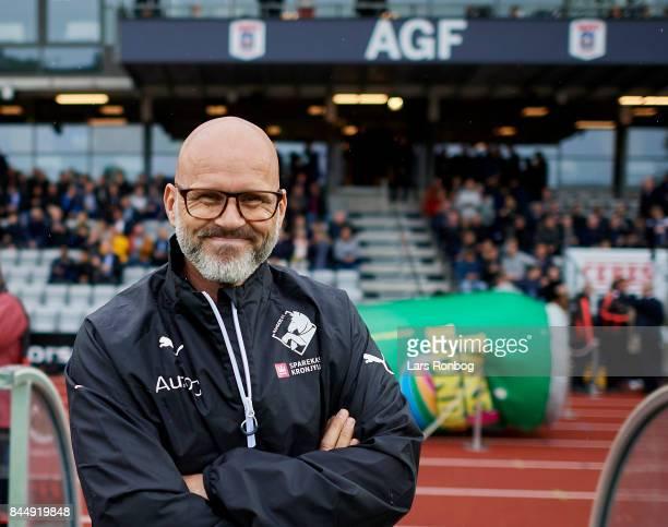 Olafur Kristjansson head coach of Randers FC smiles prior to the Danish Alka Superliga match between AGF Aarhus and Randers FC at Ceres Park on...