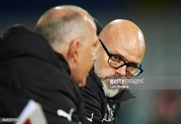 Olafur Kristjansson head coach of Randers FC speaks to Peter Enevoldsen assistant coach of Randers FC during the Danish Alka Superliga match between...