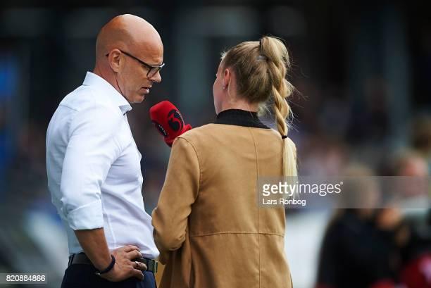 Olafur Kristjansson head coach of Randers FC speaks to TV3Sport/Viasat during halftime in the Danish Alka Superliga match between Randers FC and FC...
