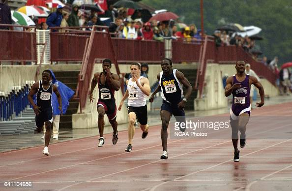 Olan Coleman of Tarleton State wins a tight race in the 200 meter dash during the Division 2 Men's Track and Field Championship held at Korte Stadium...