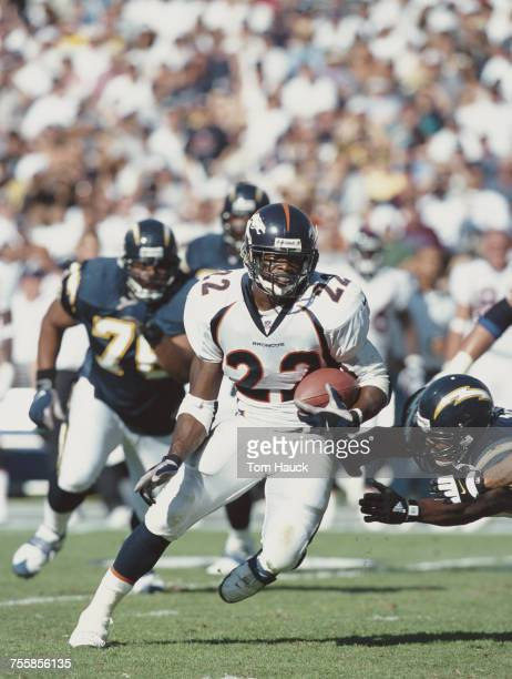 Olandis Gary running back for the Denver Broncos making a play during the American Football Conference West game against the San Diego Chargers on 7...