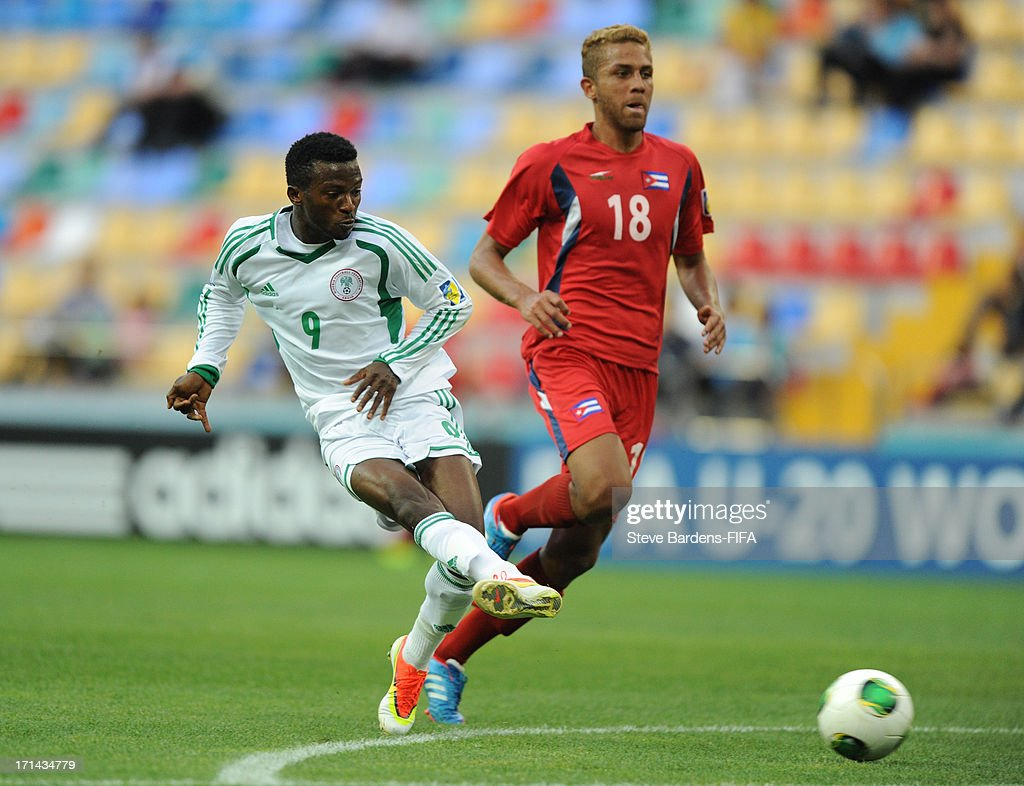 Olarenwaju Kayode of Nigeria shoots during the FIFA U-20 World Cup Group B match between Cuba and Nigeria at Kadir Has Stadium on June 24, 2013 in Kayseri, Turkey.