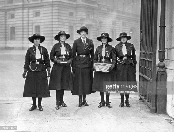 Olave BadenPowell and a deputation of girl guides arrive at Buckingham Palace with a present for Princess Mary February 1922