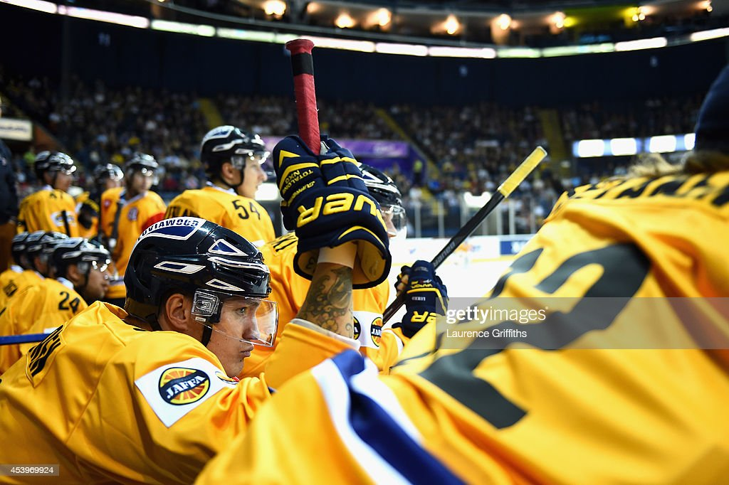 Olavi Vauhkonen of Lukko looks on from the bench during the Champions Hockey League group stage game between Nottingham Panthers and Lukko Rauma on August 22, 2014 in Nottingham, England.
