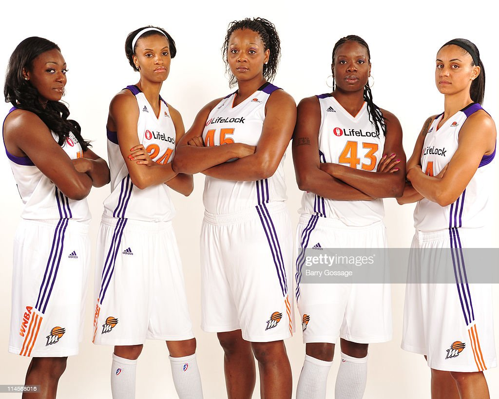 Olayinka Sanni #34, DeWanna Bonner #24, Kara Braxton #45, Nakia Sanford #43 and Candice Dupree #4 of the Phoenix Mercury poses for photos during Phoenix Mercury Media Day on May 23, 2011 at U.S. Airways Center in Phoenix, Arizona.