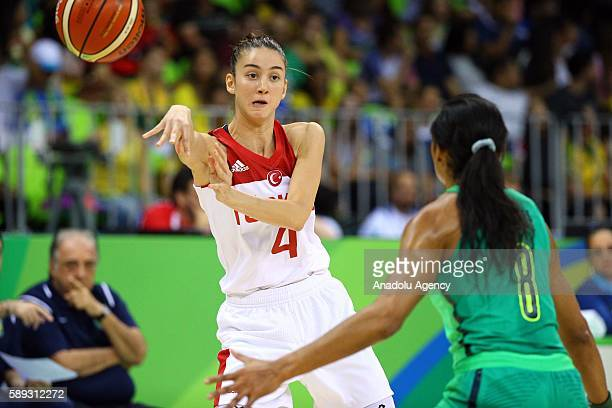 Olcay Cakir of Turkey in action against Iziane Castro of Brazil during a Women's Group A game between Turkey and Brazil at the Rio 2016 Olympic Games...
