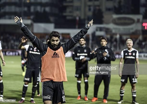 Olcay Sahan of Besiktas celebrates after winning the Turkish Spor Toto Super Lig match between Adanaspor and Besiktas at Adana 5 Ocak Fatih Terim...