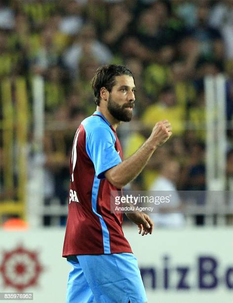 Olcay Sahan of Trabzonspor celebrates after scoring a goal during Turkish Super Lig soccer match between Fenerbahce and Trabzonspor at the Ulker...