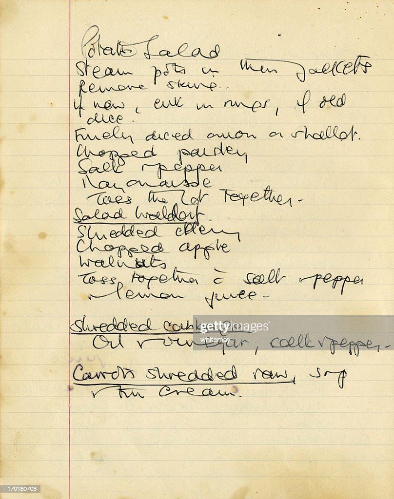 Old 1950s recipe for potato salad